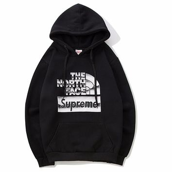 The North Face X Supreme Trending Women Men Stylish Print Long Sleeve Hooded Sweater Pullover Top Black I12690-1