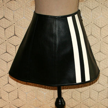 Vintage 80s Skirt PVC Vinyl Black Mini Skirt Zipper Moto Club Kid New Wave Faux Vegan Leather Skirt Black Skirt Medium Large Womens Clothing