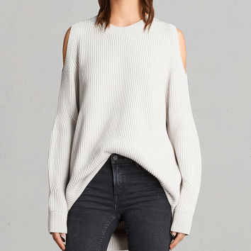 ALLSAINTS CA: Womens Lizzie Crew Sweater (grain_white)