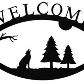 Wrought Iron Timber Wolf Welcome Home Sign Large