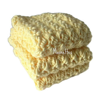 Handmade Dish Cloths Pale Yellow Wash Cloths Crochet Kitchen Dishcloths Eco Friendly Cotton Set of 3