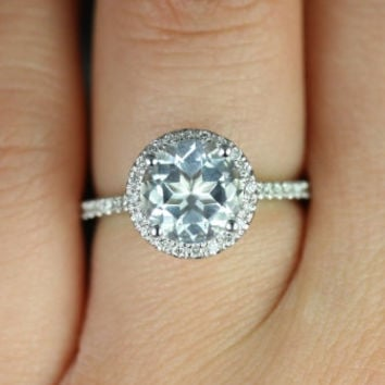 Kubian 8mm 14kt White Gold Round White Topaz and Diamonds Halo Engagement Ring (Other metals and stone options available)