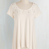 Mid-length Short Sleeves How Mellow Can You Go? Top in Ivory by ModCloth