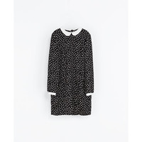 Zara Polka Dot Dress With Peter Pan Collars - Polyvore