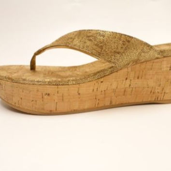 STUART WEITZMAN CLASP Tan Nairobi Patch Designer Open Toe Thong Wedge Sandal