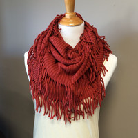 RIBBED INFINITY SCARF- RUST