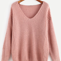 Pink Ribbed Knit V Neck Drop Shoulder Sweater -SheIn(Sheinside)