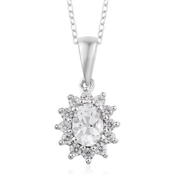 Goshenite, Cambodian Zircon Platinum Over Sterling Silver Pendant With Stainless Steel Chain