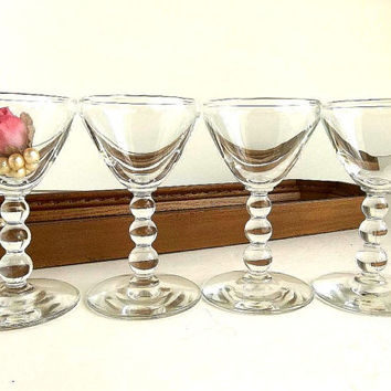 Vintage Libbey Knob Hill FOUR aperitif, wine port glasses Mid Century, ball beaded stem Rock Sharpe cocktail glasses barware bar ware