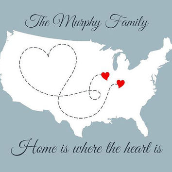 Family Map, Home is Where the Heart is, Personalized USA Print, United States Wall Art, 8x10 America Artwork for Long Distance Relationships