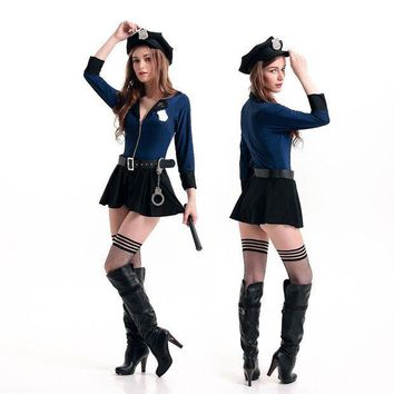 ESBONG Performances lead dancer clothing pole dancing clothes sexy temptation of the Navy policewoman Halloween [8979047751]
