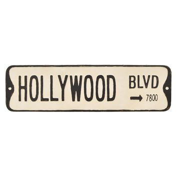 Vintage Metal Street Sign - Hollywood Blvd -- 32-in