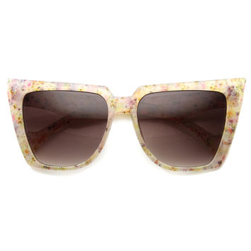 Women's Oversize Speckled Butterfly Cat Eye Sunglasses 9840