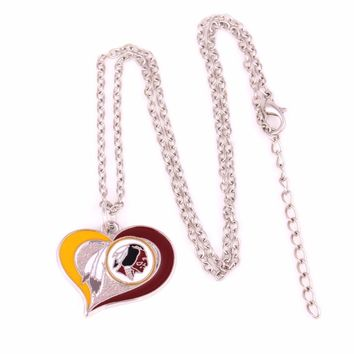 Washington Redskins Drop shipping 1pcs Enamel single-sided Swirl Heart Football team logo charm with link chain sports Necklace