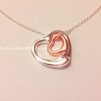 SALE, 2 Heart Pendant Necklace, Sterling Silver 925, Mother daughter, Best friends, Mother and child, new mom,Mother's Day, gift, jewelry