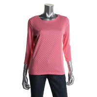 Charter Club Womens Petites Cotton Polka Dot Pullover Top