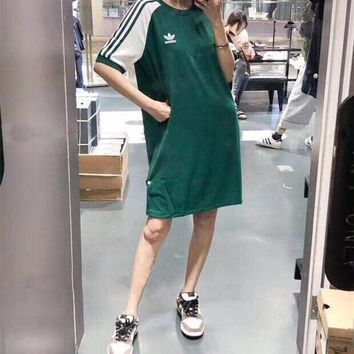 """Adidas"" Sport Casual Vintage Multicolor Stripe Round Neck Short Sleeve Middle Long Section T-shirt Dress"