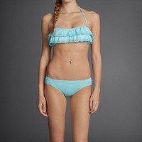 GH Laser-Cut Ruffle Swim Top
