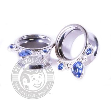Triple Prong Blue Sapphire Double Flared Steel Tunnels