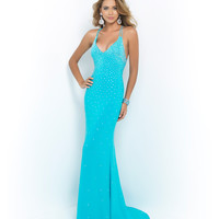 Pool Light Blue Deep V-Neck Halter Dress
