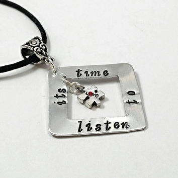 Autism awareness necklace, autism jewelry, hand stamped personalized jewelry, puzzle piece necklace, it's time to listen  autism gifts