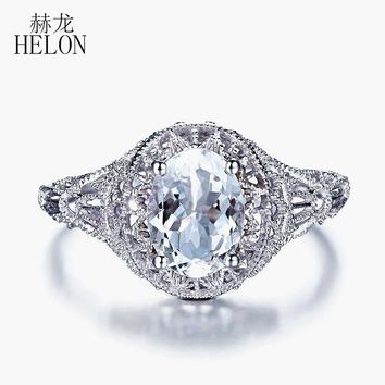 HELON Oval Cut Solid 10K White Gold 1CT Natural Aquamarine Art Deco Antique Engagement Wedding Ring Fine Jewelry Gemstone Ring