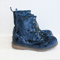 90s Blue Velvet Combat Boots Womens size 9 8.5 Doc Martin Style Lace up Boots | Grunge Punk 1990s Docs Doc Martens 9 Club Kid Hipster Funky