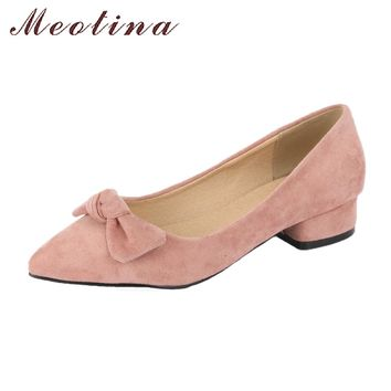 Meotina 2018 Shoes Women Ballet Flats Pointed Toe Slip On Casual Shoes Spring Bow Flats Shoes Plus Size 9 42 43 Pink