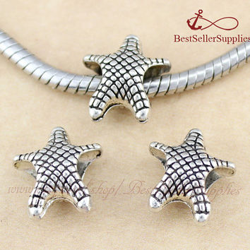 20 PCS, Starfish Bead Charm, Sea Star, Metal Bead, Slider Large Hole Bead, European Bead, Jewelry Making Supplies, 15*14*7MM, Hole 4.7MM