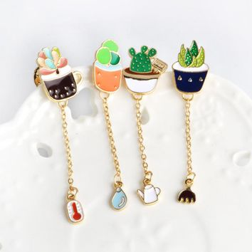 Cartoon cactus Potted Plant Thermometer Water Kettle Rake Brooch Enamel Pin Chain Button Pin Denim Jacket Pin Badge Gift Jewelry