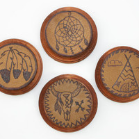 Leather Coasters, Native American Designs, Unique Coasters, Home Decor, Southwest Motif
