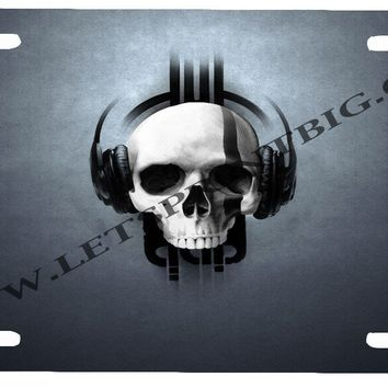 Skull Headphones-License Plate Car Tag