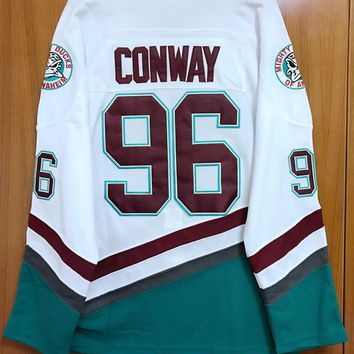 Mighty Ducks Movie Jersey #96 Charlie Conway Hockey Jersey Stitched All Sewn