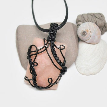 OOAK Wire wrapped Rhodonite necklace, soft pink stone pendant, intricate wire wrap, black leather necklace, unique necklace for women