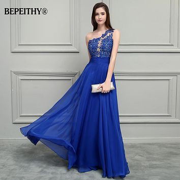 Women's Long A Line One Shoulder Chiffon Evening Party Prom Dress