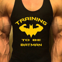 Batman Shirt, Mens Workout Tank Top. Fitness Tank. Racerback Tank. Muscle Tank. Mens Fitness. Gym Tank Top. Workout Shirt. Fitness Apparel