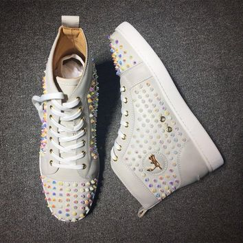 Cl Christian Louboutin Louis Spikes Mid Style #1809 Sneakers Fashion Shoes - Best Deal Online