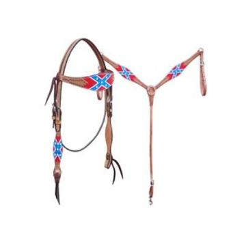 NEW Rebel Confederate Flag Leather Western Tack Set Headstall Breast Collar