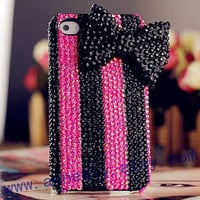 bowknot iphone 5 case with full beads,bling bling iphone 4s case,Samsung galaxy s3 case