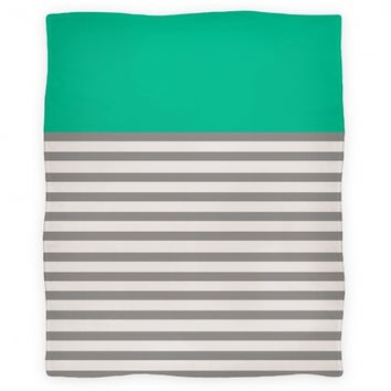 Color Block Stripe Blanket (Green)