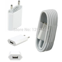Genuine quality 1Set Real 1Amp Home Travel kIt EU/US Wall Charger & 8pin usb charging cable for Iphone 5 5s 6 plus 7 ipad mini4
