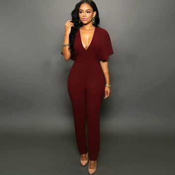 Womens Jumpsuits 2016 Brand New Fashion Sexy Club Batwing Sleeve Deep V Neck Nightclub Bodysuits Casual Slim Fit Elastic Catsuit