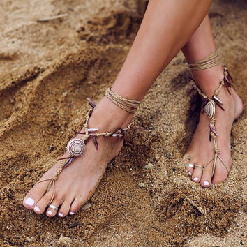 Barefoot sandals. native american. boho barefoot sandals, barefoot sandles, crochet barefoot sandals, , yoga, anklet hippie shoes