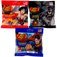 Jelly Belly Superhero Mix Batman Superman Wonder Woman Lot 3 Bags 2.8oz Made US