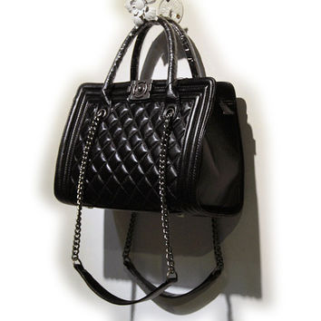 Quilted Leather Tote Shoulder Bag
