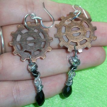Steampunk Dangle Earring with Hypoallergenic by moonknightjewels