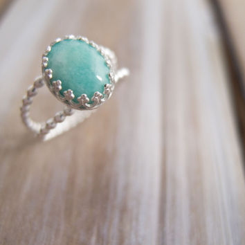 Amazonite Ring, Sterling Silver, Aqua, Teal  Jewelry, Bead Wire Band, Mint Gemstone, Spring Jewelry, Sundance Style Jewelry