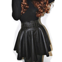 Spring Summer Women High Waist Skirts Punk Faux Leather Black Skater Rivet Mini Tutu Skirt 63