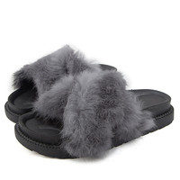 Winter Fur Sandals  Platform Slippers Beach Casual Shoes Woman Slip On Creepers Flip Flops Fashion Flats Loafers