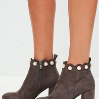 Missguided - Gray Pearl Top Ankle Boots